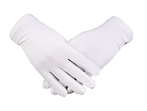 WDSKY Women's Men's Formal White Gloves for Tuxedo Parade 1 Pair -