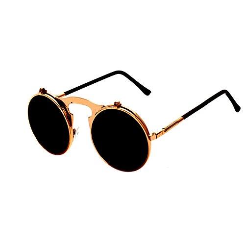 Lunettes Lens Meijunter de Up Circle de Frame soleil Fashion Metal Lunettes Retro New Flip C3 soleil Aqgd6qHw