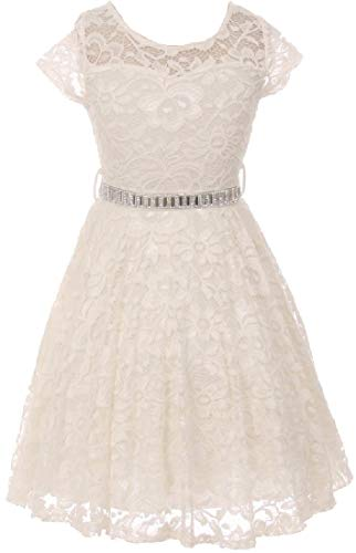 Little Girls Illusion Lace Top Stone Belt Flowers Girls Dresses Off White 6 (J19KS88) -