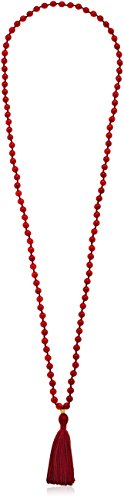 Satya Jewelry Classics Carnelian Gold Plate Lotus Tassel Mala Strand Necklace, 42'' by Satya Jewelry