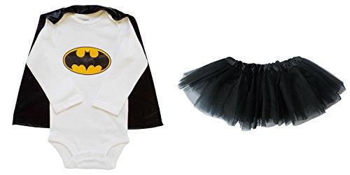 So Sydney Baby, Infant Girl Superhero Onesie with Detachable Cape & Tutu Skirt (S (0-6 Months), Batman - Yellow & (Batman Costume Sydney)