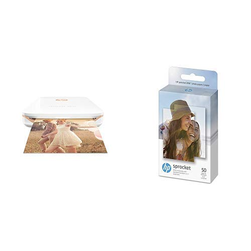 HP Sprocket Plus Instant Photo Printer, Print 30% Larger Photos on 2.3x3.4'' Sticky-Backed Paper – White (2FR85A) with Photo Paper 50 Sheets (White)
