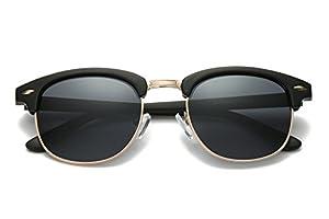 Semi Rimless Clubmaster Sunglasses for men- Half Frame Polarized Classic With Box FEIDU FD4003