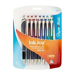 Paper Mate InkJoy 550 RT Ballpoint Pen, Medium Point, Assorted Colors, 8-Count