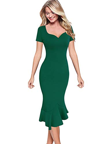 VFSHOW Womens Green Elegant Vintage Cocktail Party Mermaid Midi Mid-Calf Pencil Dress 3138 GRN XL