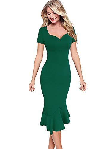 (VFSHOW Womens Elegant Vintage Cocktail Party Mermaid Midi Mid-Calf Pencil Dress 2728 GRN XL)