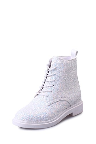 White Shoes Women Casual Pink Tribble Heels Boots up Glitter Boots Jeff Ankle White Bling Lace Autumn Black FRZqnXnwg