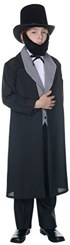 UHC Boy's Abraham Lincoln Outfit Funny Theme Fancy Dress Child Halloween Costume, Child S (4-6)
