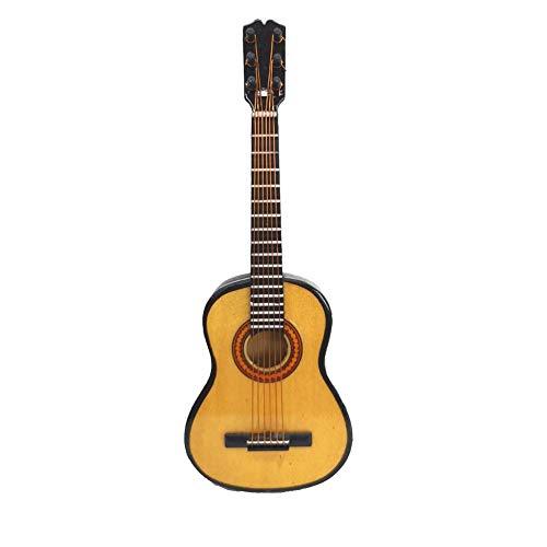 - LS Wooden Maple Mini Ornaments Guitar Musical Instrument Miniature Dollhouse Model Home Decoration (13cm / 5.1'')