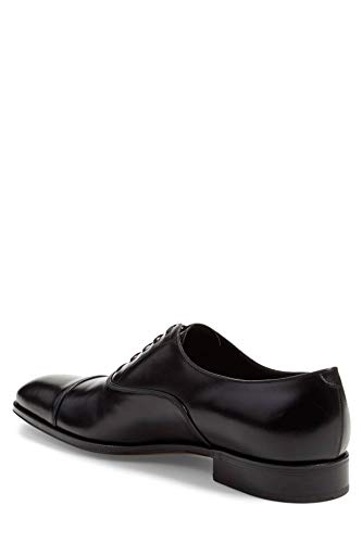 (SALVATORE FERRAGAMO Mens Luce Leather Lace Up Dress Oxfords, Black, Size 11.0)
