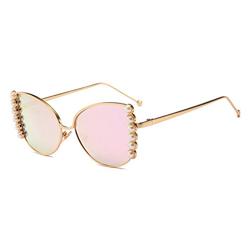 De Lunettes Nuances Mirror Mode Necct Décoration Revêtement Pink Perle Miroir Femmes Oeil Chat Uv400 Rose Soleil wCtqBIt