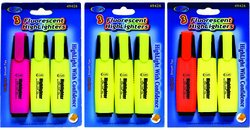 DDI - Fluorescent Highlighters - 3 pack (1 pack of 48 items) by DDI