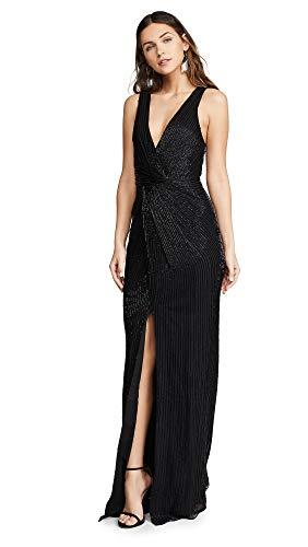 Parker Women's Monarch Surplice Neckline Beaded Dress, Black, 2