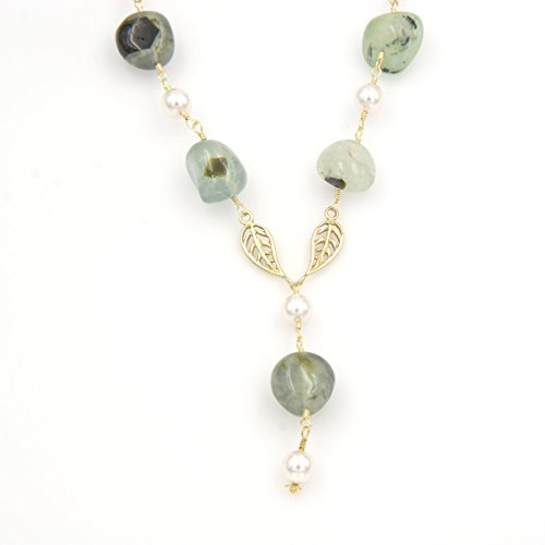 Prehnite Gemstone Pendant Y Necklace - Tumble Nuggets, Swarovski White Pearls, Leaf Links, 2.5 & 18.5-in