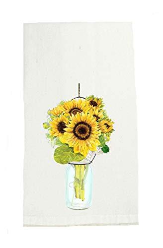 Sunflowers in Mason Jar Tea Towel, Farmhouse Tea Towels, Kitchen Decor, Floral Bath Decors