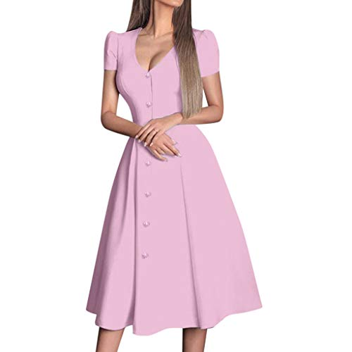 Smdoxi Summer Fashion Women's Solid Color Casual Stitching Striped Print Round Neck Short Sleeve Simple Long Dress Pink