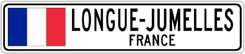 LONGUE-JUMELLES, FRANCE - France Flag Aluminum City Sign