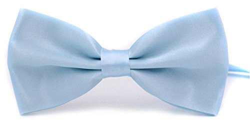 Taishenyuan Mens Classic Pre-Tied Satin Formal Tuxedo Bowtie Adjustable Length Large Many Colors Available (Light blue)