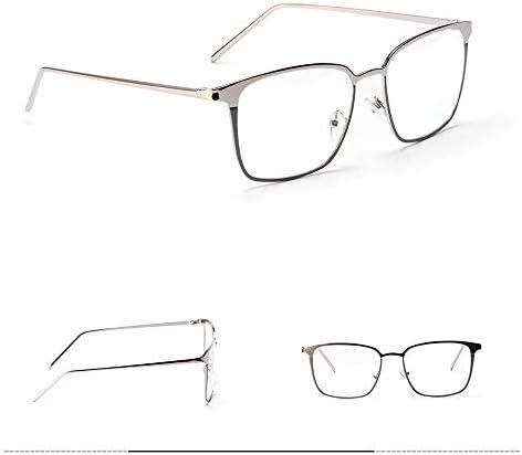 LIUYALE Frauen quadratische Metallbrillen, Schutz der Augen Leichte Anti-Ermüdung der Augen High Density-Quadrat-Rahmen-Raum-Objektiv-Augen-Gläser Brillenfassungen (Color : Silver)