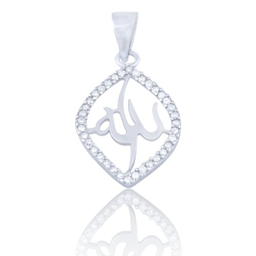 Sparkling Almond Shaped Sterling Silver Muslim Allah Pendant Bordered With White Cubic Zirconia