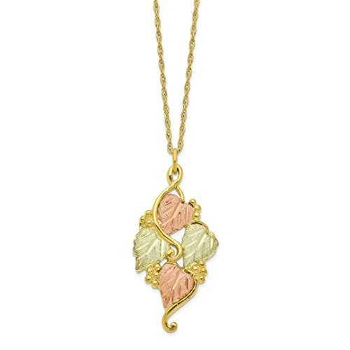 ICE CARATS 10kt Tri Color Black Hills Gold Chain Necklace Pendant Charm Hill Tree Leaf Fine Jewelry Ideal Gifts For Women Gift Set From (Leaf Tri Color Gold Pendant)