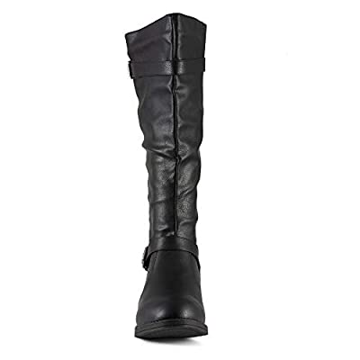 Twisted Women's Amira Wide Width/Wide Calf Faux Leather Knee-High Quilted Boot with Gold Hardware | Knee-High