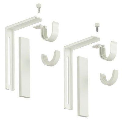 3 X Set of 2 Ikea Betydlig Wall or Ceiling Curtain Rod Brackets Steel White Adjustable by Ikea