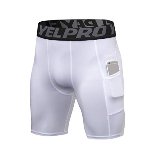 STORTO Mens Pockets Bodybuilding Shorts Solid Compression Fitness Workout Sports Dry Shorts White (Reg Sportswear)