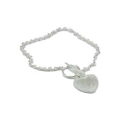 5ebf1c1b77680 925 Silver Tiffany Style Bracelet, Frosted Heart Charm & T-Bar