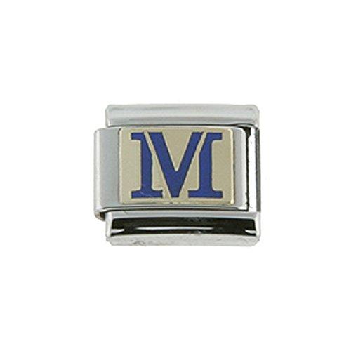 - Sabrina Silver Stainless Steel 18k Gold Italian Charm Initial Letter M for Italian Charm Bracelets Blue Enamel