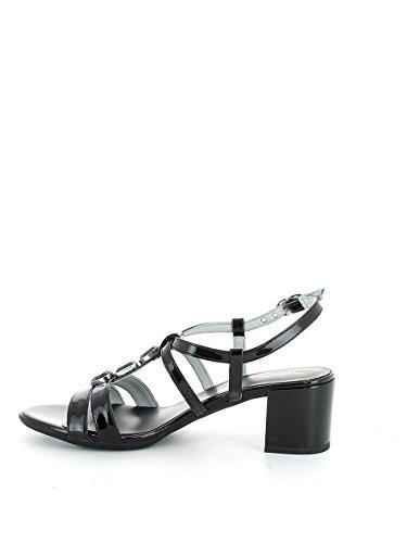 Sandalo in vernice nera con pietre e mezzo tacco N. 37