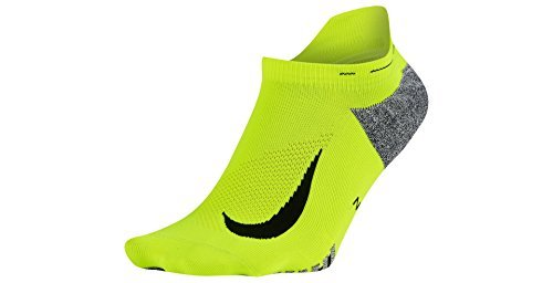 wholesale outlet buying cheap exclusive deals Nike Mens Elite Lightweight No-Show Tab Running Socks (4-5.5 B(M) US, Volt  (SX5644-702) / Black)