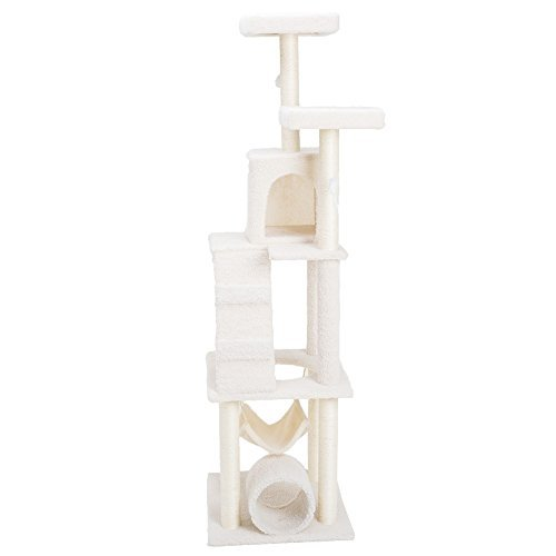 Xstiger 69'' Cat tree Furniture Tower Climbing Tree with Condo/House and Toys (Beige White)