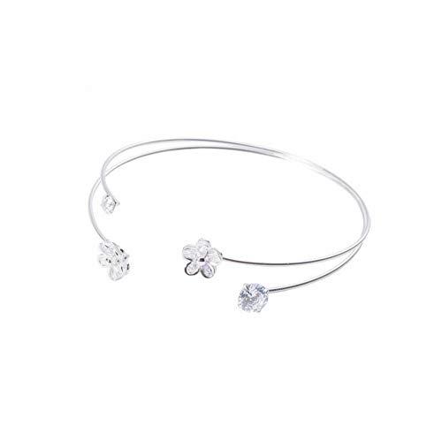 SHOUSHI Women's Western Trend Fashion 925 Silver Floral Diamond Studded Flower Open Bracelet 925 Sterling Silver Girlfriend Jewelry Girl Handbags Hypoallergenic Silver Jewelry, 925 Silver ()