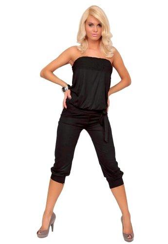 [Amour- Women Casual Strapless Jumpsuit Stretch Clubwear Rompers Capri Pants (Black),Large] (Stretch Jumpsuit)
