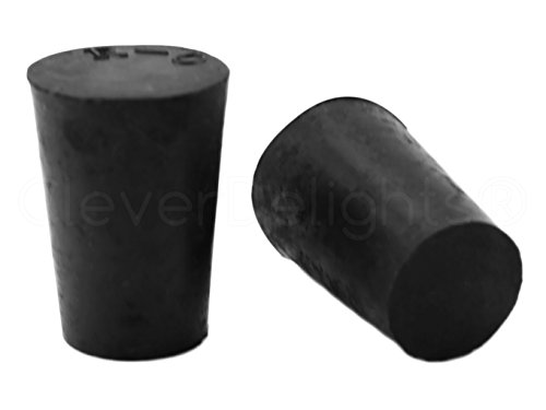 10 Pack - CleverDelights Solid Rubber Stoppers - Size 0-17mm x 13mm - 24mm Long - Black Lab Plug (Cork Rubber Stopper)