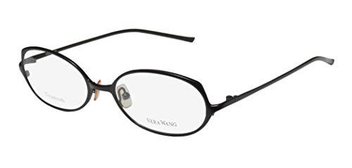Vera Wang V107 Womens/Ladies Optical Fancy Designer Full-rim Titanium Eyeglasses/Eyeglass Frame (51-17-135, Black) (Gold-designer-brille)