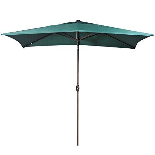 Abba Patio Rectangular Patio Outdoor Market Table Umbrella with Push Button Tilt and Crank, 6.6 by 9.8 Ft, Dark Green