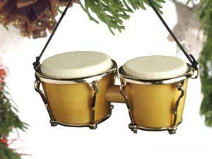 Bongo Drums Ornament - Natural by BuyGifts