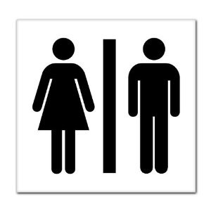 "Unisex Men Women Bathroom Sign sticker decal 8"" x 8"""