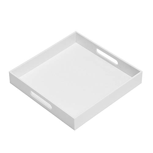 Glossy White Sturdy Acrylic Serving Tray with Handles-12x12x2H Inch-Thickness of 3/16