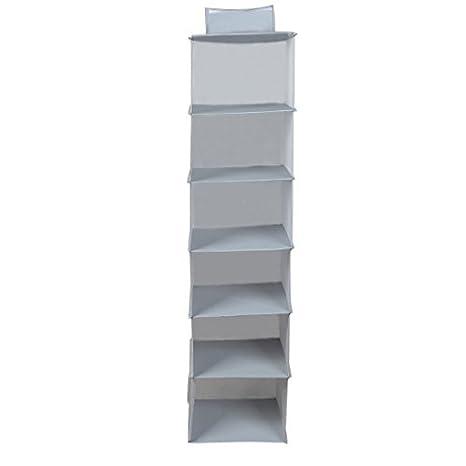 eDealMax resumen la ropa Interior 6 compartimentos de almacenamiento colgantes bolso de la caja gris Oscuro