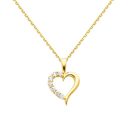 The World Jewelry Center 14k Yellow Gold Journey Heart CZ Pendant with 0.9mm Cable Chain Necklace - 22