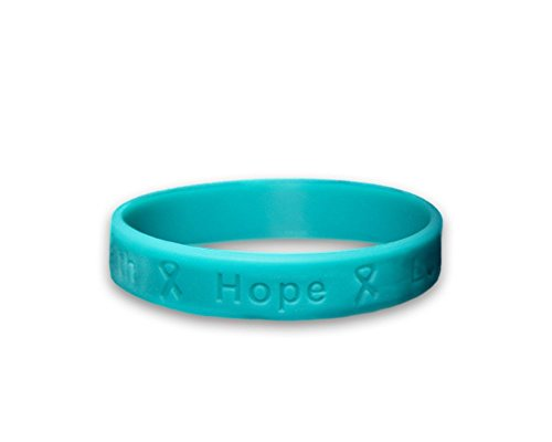 Ovarian Cancer Awareness Teal Ribbon Hope Silicone Bracelets (3 (Ovarian Cancer Awareness Bracelet)