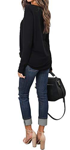Shirts Tee Sweat Tees Hauts et Blouse Couleur Manches Legendaryman Automne Longues Jumpers Casual Fashion Tops Pulls Femmes Printemps Rond Col Unie Noir Shirts T 8PnOWOvA
