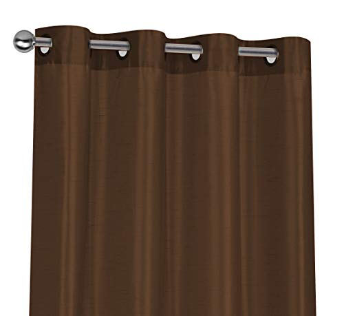 Regal Home Collections 2 Pack Semi Sheer Faux Silk Grommet Curtains - Assorted Colors (Brown) (Curtains Silk Brown)