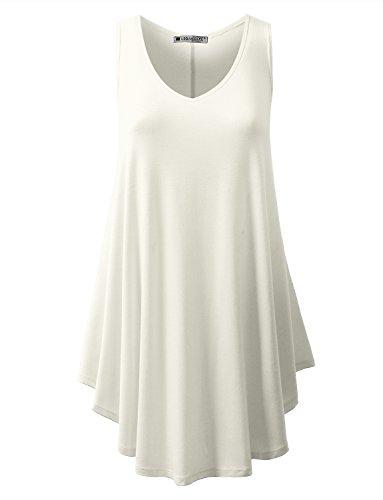 URBANCLEO Womens V-Neck Sleeveless Tunic Top T-Shirt Dress Ivory 2XLARGE