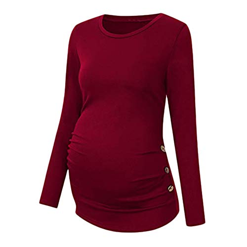 Liz Lange Maternity Top - BOLUOYI Maternity Clothes Under 10 Maternity Shirt Side Button and Ruched Maternity Tops Maternity Long Sleeve Shirts Red 2XL