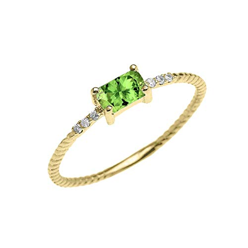 Certified 10k Yellow Gold Diamond and Emerald-Cut Solitaire Peridot Dainty Promise/Engagement Ring (Size 5.25)