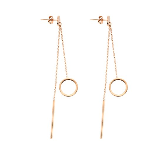REEBOOO Dainty Rose Gold Lariat Necklace,Double Layer Circle Necklace,Bar DropTassel Earrings Necklace Gift For Her (Earrings)